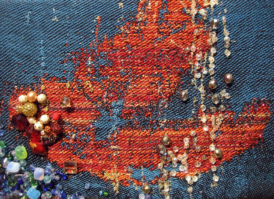 Red Lips, 2016. Jacquard-textile, cotton and lyocell, glitter-print, bead embroidery, silk fabric.
