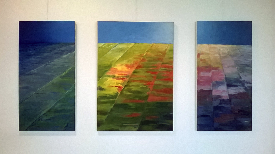 Triptyykki, 2001. Acrylic on canvas. 200 x 90 cm.