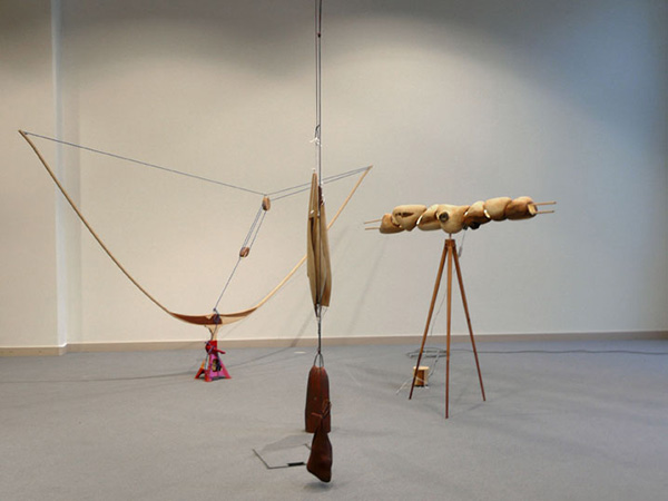 Rekonstruktio omenapuutarhasta, variable dimensions, apple tree, birch, leather, steel, concrete, 2013