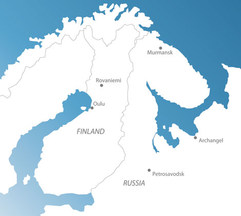 Map of the BCBU partners in Finland and in Russia